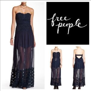 Free people navy monarch maxi dress Sz 6